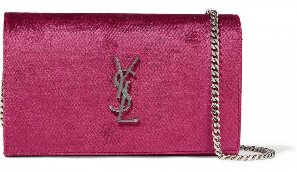 saint laurent monogram velvet clutch