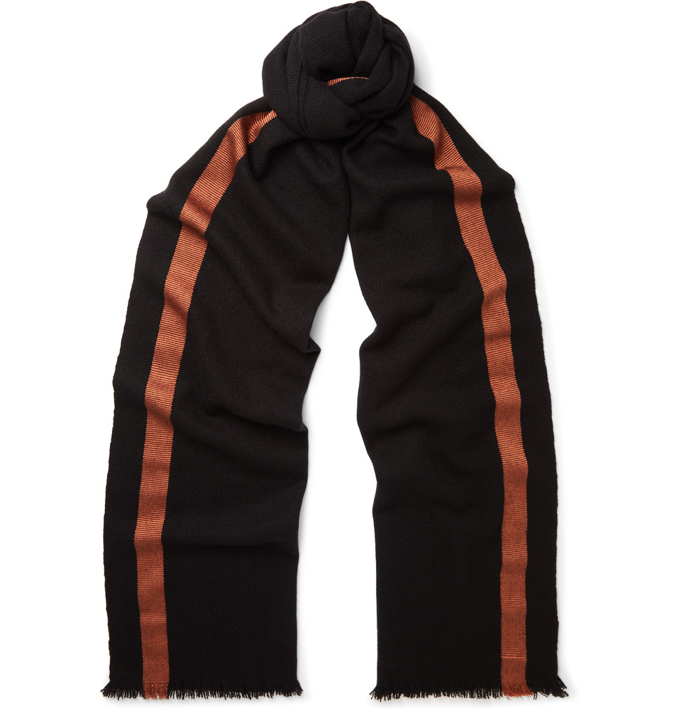 Berluti Striped Cashmere And Silk Blend Scarf