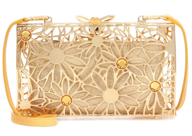 charlotte olympia pandora in bloom metal clutch