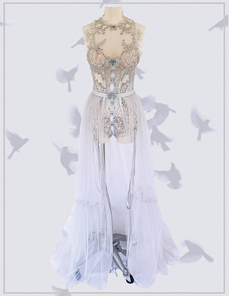 Steel gray hand appliqué lace bodysuit with boudoir skirt