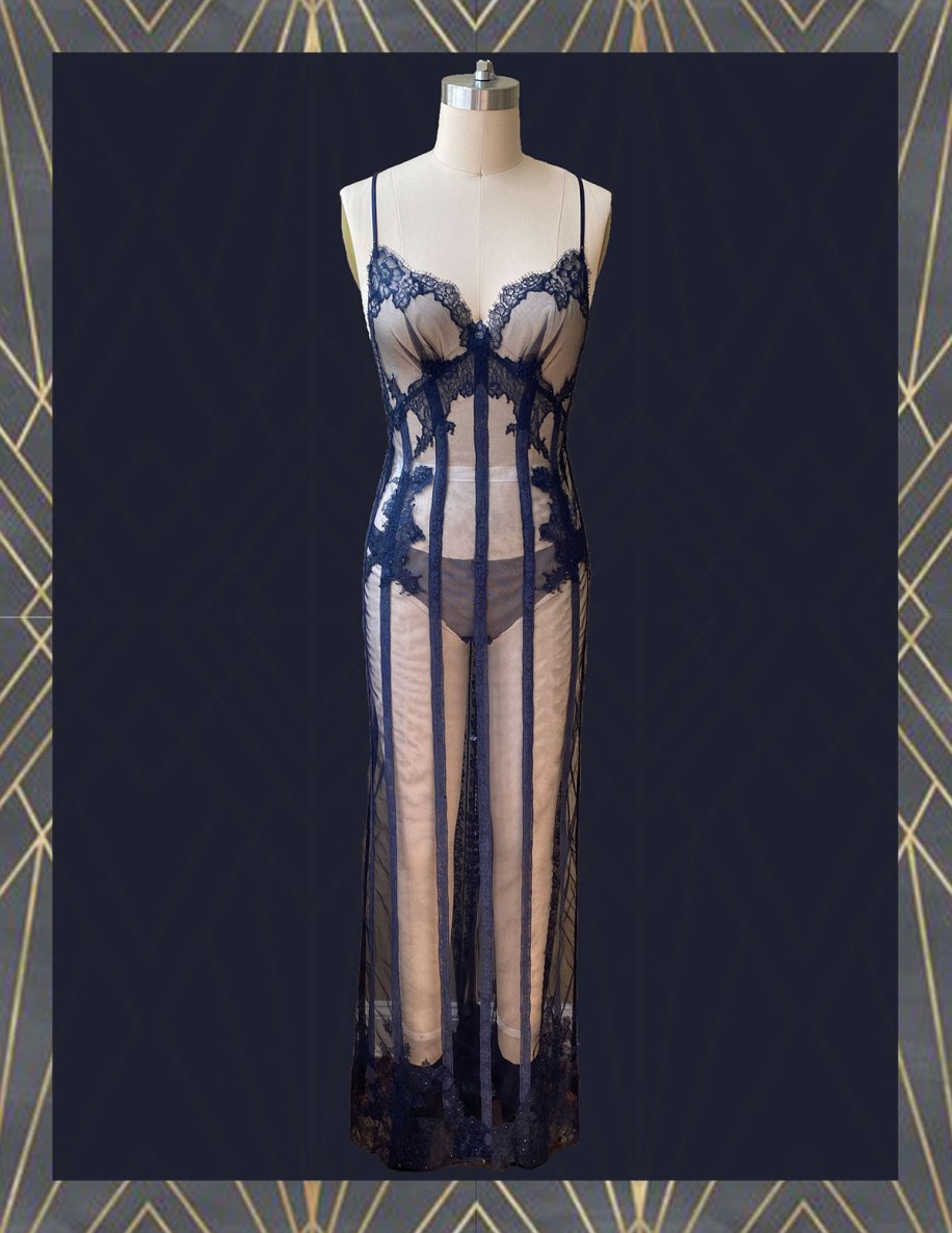 Midnight Navy sheer net long bias gown w/ appliqué lace & hand-dyed lace inserts