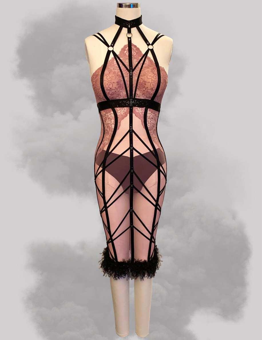 Mauve Sheer Illusion Showgirl Length Control Slip w/ Applique Lace & Elastic Strapping Details