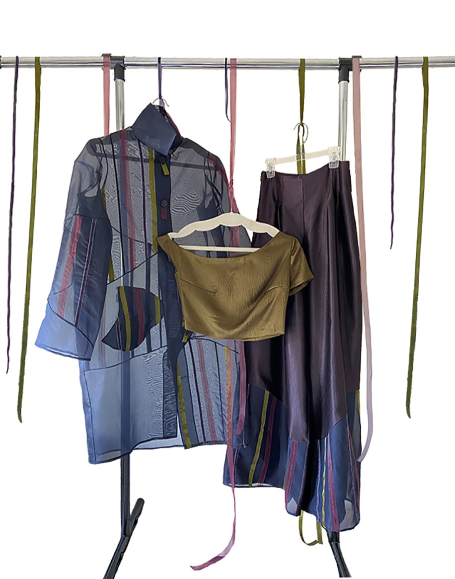 Bottle green gazar sculptural seamed jacket w/multi ribbon trim, moss asymmetrical top, eggplant ribbed culottes