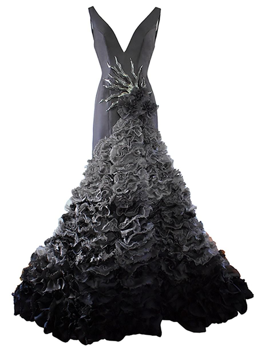 Cool gray silk gazaar gown with ombré ruffled slit skirt