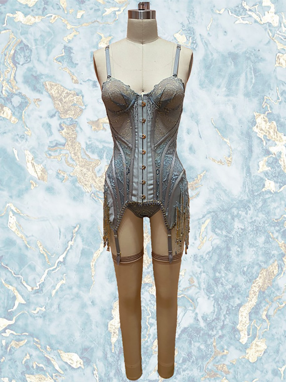 Sage silk wool & teal sheer illusion w/ lace appliqued bustier & hand beaded fringes