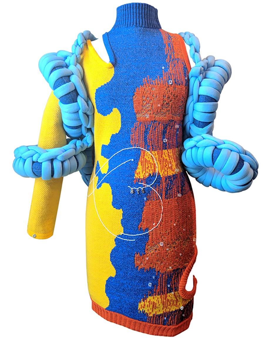 Front View Wrap blue sculpted crochet loop wrap multicolor-block relief jacquard dress.