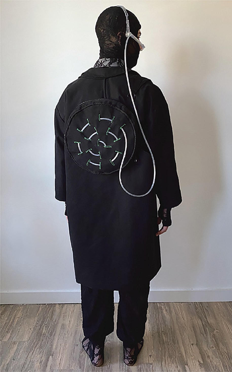 "Black canvas asymmetrical double-body ""oxygen bag"" jacket (back view)"