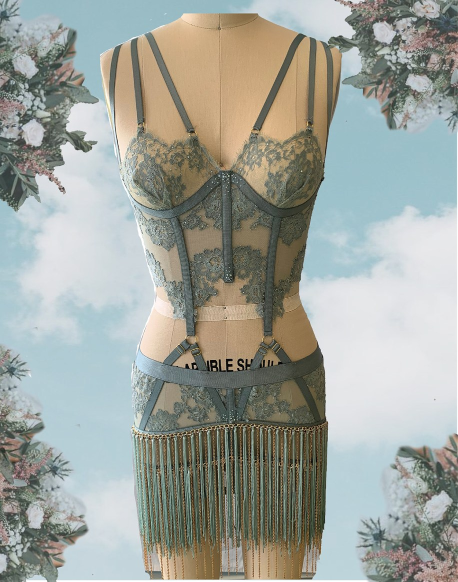 SAGE SHEER ILLUSION LONGLINE BRA & BURLESQUE SKIRT W/ HAND-DYED LACE APPLIQUE & FRINGE TRIM