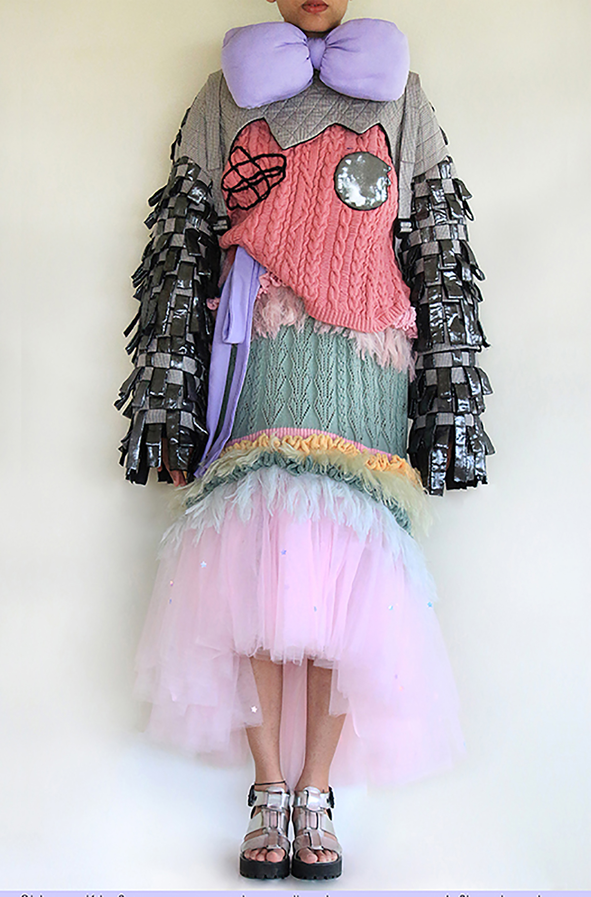 Old rose Kiki Face sweater w/ metallic sleeves over candyfloss knit dress