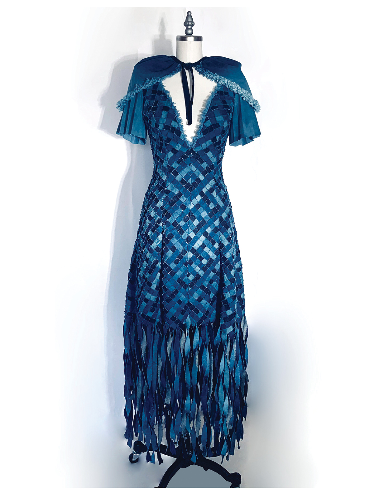 """""""Indigo Roots"""" is inspired by fashion revolutions, unconventionality, and turning traditional eveningwear motifs upside down."""
