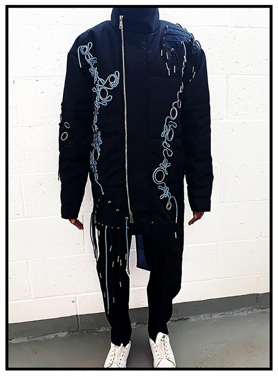 Black nylon asymmetrical jacket