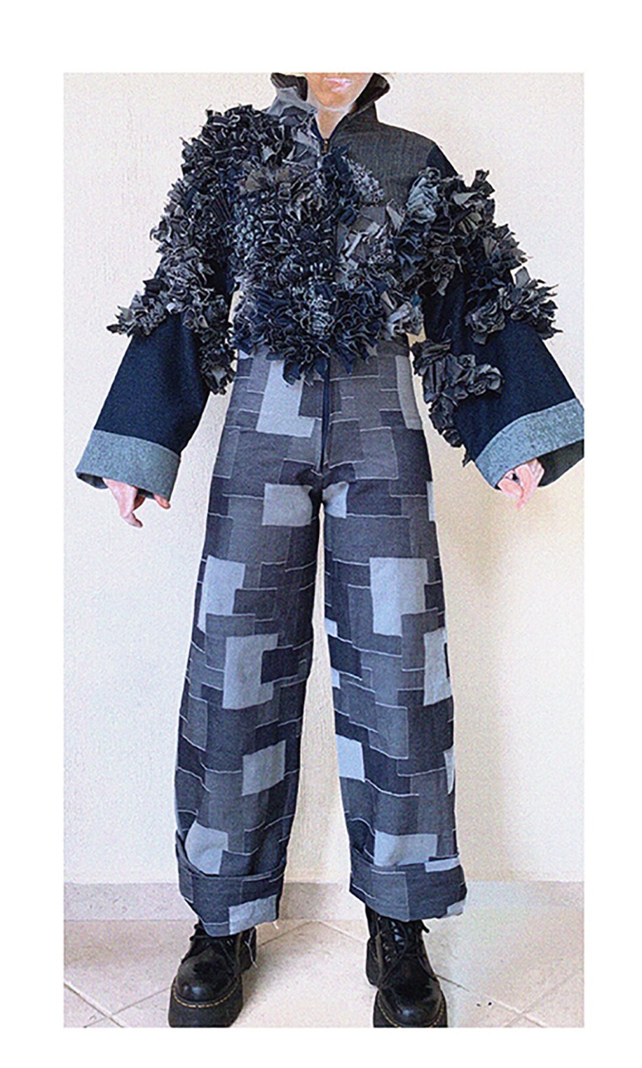 MANIPULATED DENIM JUMPSUIT FRONT VIEW