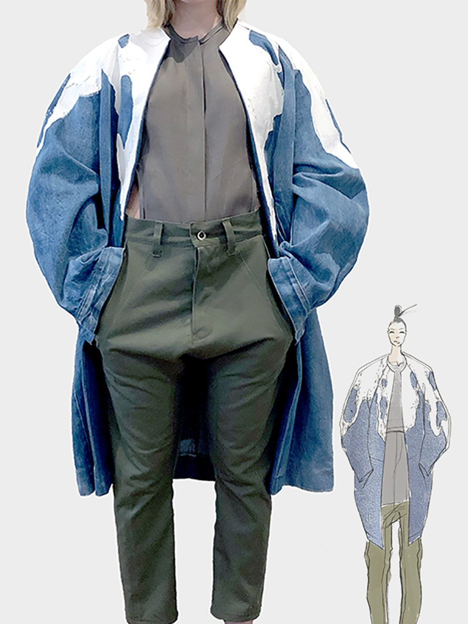 Washed denim cocoon coat with screenprint and glass beading; silk organza top; cotton twill drop trouser
