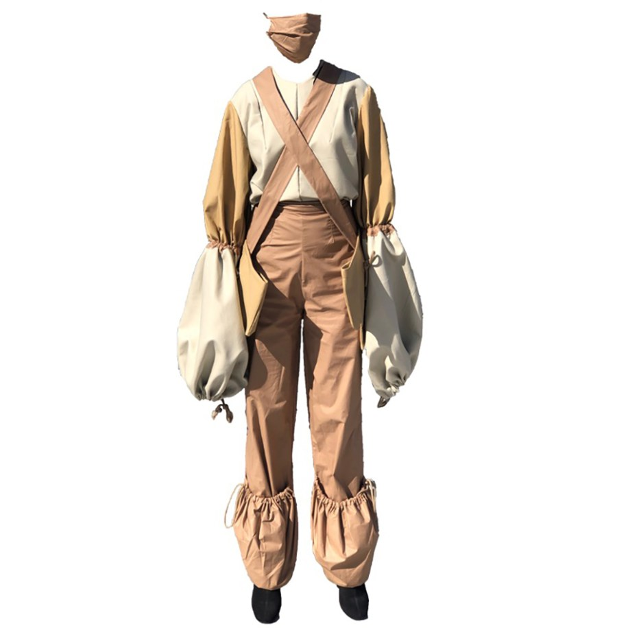Paratrooper inspired parachute sleeve top with drawstring pocket pants, double cross body bag, & face mask