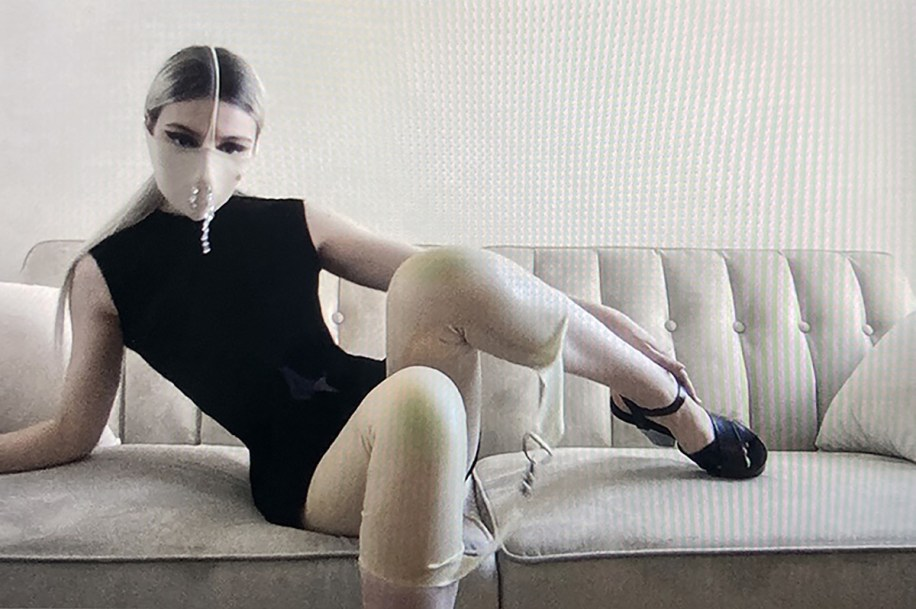 Sweat Pattern Devoré Dress with Latex Bondage Pant