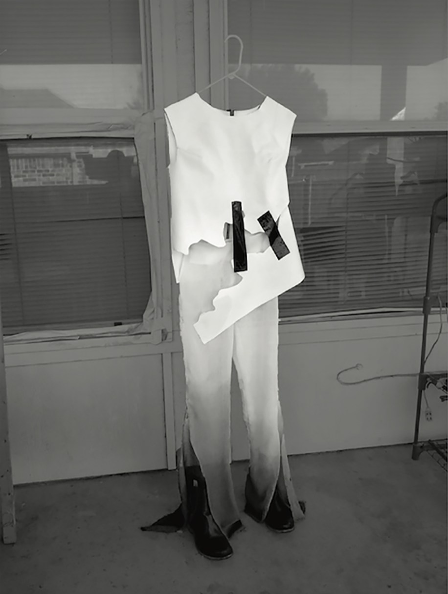 "White doubled bonded cotton ""tear-a-way"" top w/black electrical tape detail, white to black sheer linen dip-dyed pant"