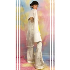 Back pleated panel and outer sleeve in organza