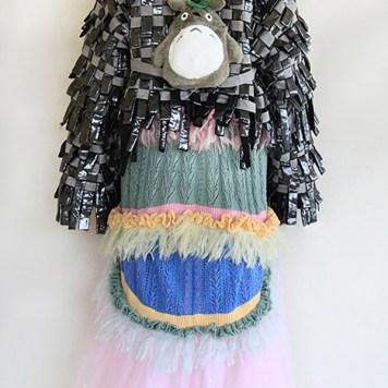 Handwoven metallic chiffon stripes and Totoro has my back-pack