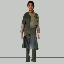 "Look 2 Grey cotton ""interchangeable section"" pant, detachable skirt, and layered tops"