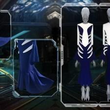 OPTIC WHITE/NAVY FULL-LENGTH RIB INTARSIA DRESS WITH FLARED BOTTOM, AND 3D PRINTED SKELETON FRAME.