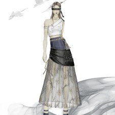 Look1 sketch: shirting top and pleated layered skirt