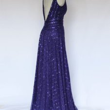 Look 1 Back View: 1930's Purple Evening Gown, Fully Hand Beaded with Cut Beads and Sequins