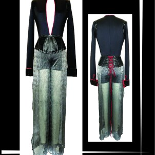 SPANDEX/LEATHER BODYSUIT, FRENCH CUFF. LEATHER/MESH HIP HARNESS. SILK CHIFFON GLEN PLAID TROUSER, BARBELLS @ HEM