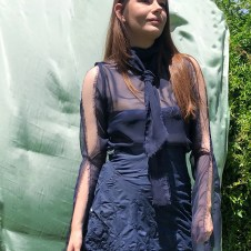 Navy chiffon fringed blouse with split sleeves and necktie scarf collar