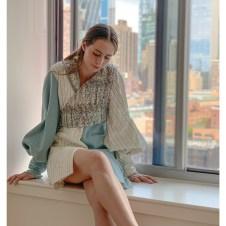 Cream hand stitched stripe / placid blue asymmetric dress with hand smocked asymmetric vest