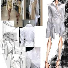 Helical moiré double collar dress