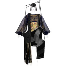 Black deconstructed hand-knit leather stripe vest over oversized mesh cropped top and double jacquard dress