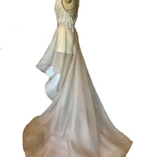 Detachable organza overskirt with high/low hem and train