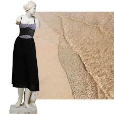Gingham/Black dress, latex corset