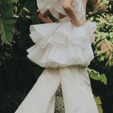 Vanilla organza tiered & ruffled, cut-out back top w/ petal collar, vanilla textured silk wide leg pant