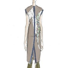 Sketch: natural denim dress with screenprint, beading, and ethical insect wing trim.