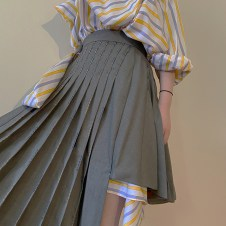 stripe shirts dress with asymmetrical pleated wool skirt