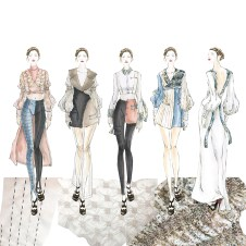 Sketch with fabric manipulation: Collection line up.