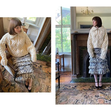 Chunky aran and cable stitch pullover. Hand-tied fringe and embroidered resin rings on skirt.