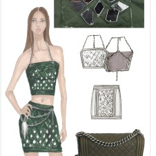 Quilted halter and skirt with sew-on mirrors, chain belt with faux fur keychain
