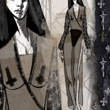 Design Sketch Sheer gown with high side slit and embellished faux leather sleeves