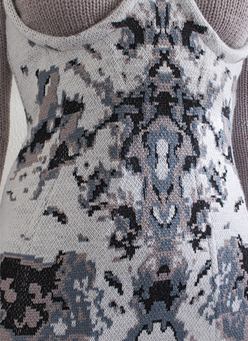 """""""This pattern was inspired by ink-blot tests, which were used to diagnose mental illness in the mid 20th century. The double jacquard was created using Stoll M1 software."""