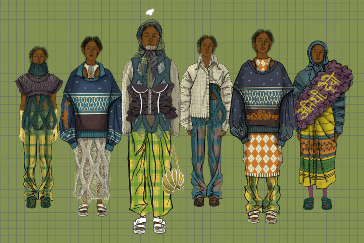 Sketches of six different looks from 'truck drivers, banana sellers' collection.