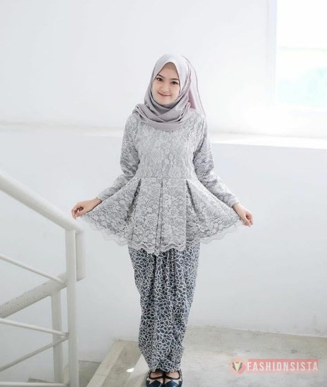Baju Kebaya Brokat Terbaru Model Peplum Soft Grey Fashionsista Co