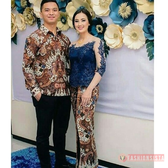 Baju Kebaya Couple Brokat Payet Transparan Navy Fashionsista Co