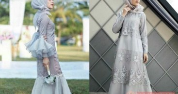 Model Baju Dress Kebaya Brokat Muslim Silver