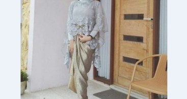 Model Kebaya Modern Cape Abu-abu