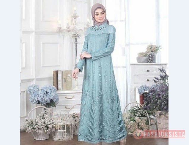 Model Kebaya Muslim Dress Biru Muda Elegan Fashionsista Co Model