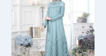 Model Kebaya Muslim Dress Biru Muda Elegan