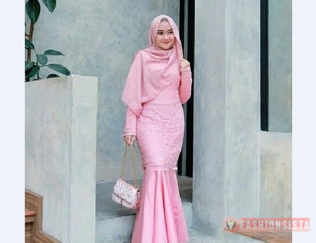 Model Kebaya Muslim Duyung Soft Pink Modern Fashionsista Co