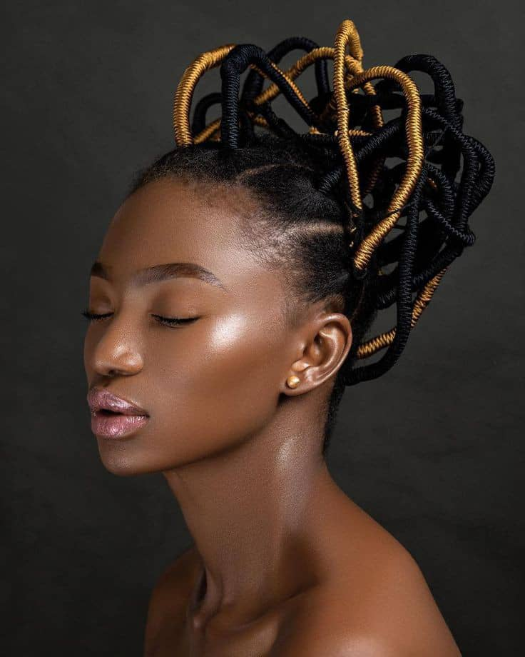 pretty lady wearing colored threaded hairstyle